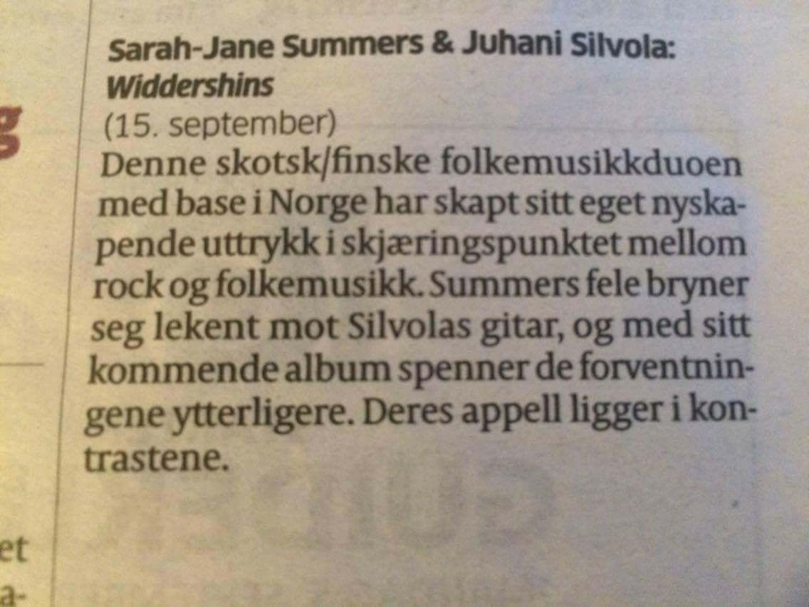 Aftenposten recommends Widdershins!